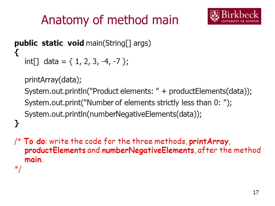 Anatomy of method main public static void main(String[] args) {
